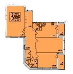ЖК «Космическая гавань», планировка 3-комнатной квартиры, 110.12 м²