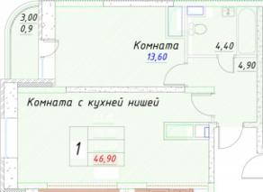 ЖК «Ледово», планировка 1-комнатной квартиры, 46.90 м²