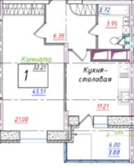 ЖК «Ледово», планировка 1-комнатной квартиры, 45.53 м²