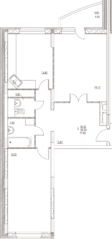 ЖК «Дом на Баковке», планировка 2-комнатной квартиры, 71.82 м²