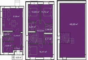 КП «KASKAD Park», планировка 5-комнатной квартиры, 177.41 м²