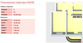 ЖК «Клязьминская высота», планировка 1-комнатной квартиры, 43.29 м²