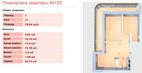 ЖК «Клязьминская высота», планировка 2-комнатной квартиры, 79.08 м²
