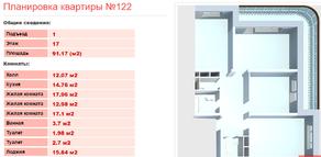 ЖК «Клязьминская высота», планировка 3-комнатной квартиры, 91.17 м²
