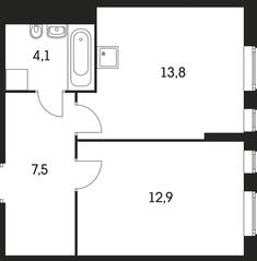 ЖК «Маршала Захарова 7», планировка 1-комнатной квартиры, 38.30 м²