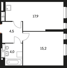 ЖК «Маршала Захарова 7», планировка 1-комнатной квартиры, 42.10 м²