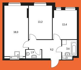 ЖК «Маршала Захарова 7», планировка 2-комнатной квартиры, 58.30 м²