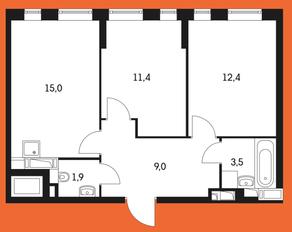 ЖК «Маршала Захарова 7», планировка 2-комнатной квартиры, 56.30 м²