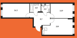 ЖК «Маршала Захарова 7», планировка 2-комнатной квартиры, 71.50 м²
