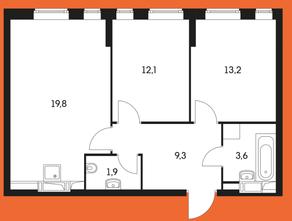 ЖК «Маршала Захарова 7», планировка 2-комнатной квартиры, 62.50 м²