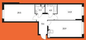 ЖК «Маршала Захарова 7», планировка 2-комнатной квартиры, 76.30 м²