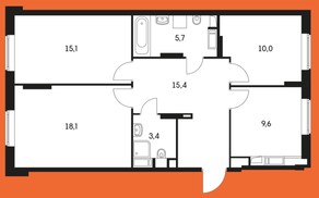 ЖК «Маршала Захарова 7», планировка 3-комнатной квартиры, 77.30 м²