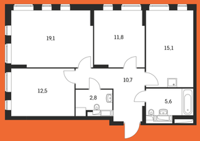 ЖК «Маршала Захарова 7», планировка 3-комнатной квартиры, 88.90 м²