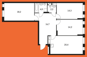 ЖК «Маршала Захарова 7», планировка 3-комнатной квартиры, 93.30 м²