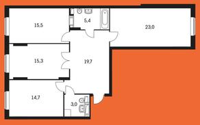 ЖК «Маршала Захарова 7», планировка 3-комнатной квартиры, 96.60 м²