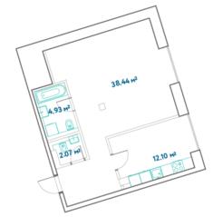 ЖК «LEVEL Barvikha Residence», планировка 1-комнатной квартиры, 57.54 м²