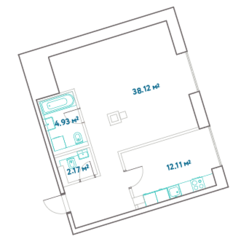 ЖК «LEVEL Barvikha Residence», планировка 1-комнатной квартиры, 57.33 м²