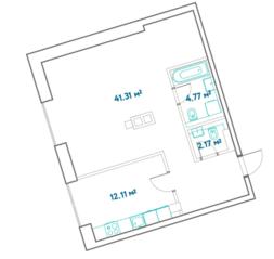 ЖК «LEVEL Barvikha Residence», планировка 2-комнатной квартиры, 60.36 м²