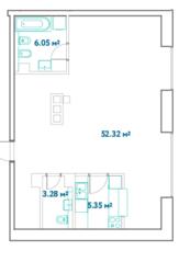 ЖК «LEVEL Barvikha Residence», планировка квартиры со свободной планировкой, 67.00 м²
