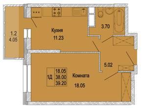 ЖК «в поселке Правдинский», планировка 1-комнатной квартиры, 39.20 м²