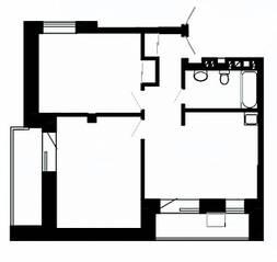 МФК «Отрада-апарт», планировка 2-комнатной квартиры, 75.40 м²