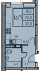 ЖК «Истомкино», планировка студии, 22.00 м²