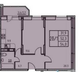 ЖК «Истомкино», планировка 2-комнатной квартиры, 54.00 м²