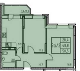 ЖК «Истомкино», планировка 2-комнатной квартиры, 50.50 м²