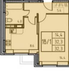 ЖК «Истомкино», планировка 1-комнатной квартиры, 32.30 м²