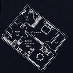 ЖК «Жизнь на Плющихе», планировка 1-комнатной квартиры, 75.00 м²