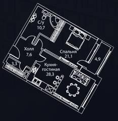 ЖК «Жизнь на Плющихе», планировка 1-комнатной квартиры, 76.00 м²