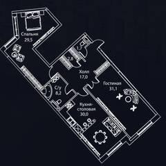 ЖК «Жизнь на Плющихе», планировка 2-комнатной квартиры, 125.00 м²