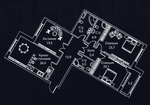 ЖК «Жизнь на Плющихе», планировка 3-комнатной квартиры, 142.00 м²