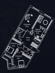 ЖК «Жизнь на Плющихе», планировка 3-комнатной квартиры, 136.00 м²