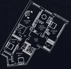 ЖК «Жизнь на Плющихе», планировка 4-комнатной квартиры, 179.00 м²