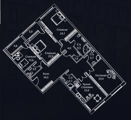 ЖК «Жизнь на Плющихе», планировка 4-комнатной квартиры, 185.00 м²
