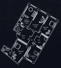 ЖК «Жизнь на Плющихе», планировка 4-комнатной квартиры, 209.00 м²