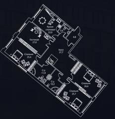ЖК «Жизнь на Плющихе», планировка 4-комнатной квартиры, 216.00 м²