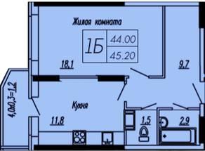ЖК «Лунный», планировка 1-комнатной квартиры, 45.20 м²