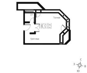 МЖК «Гармония» (Новая Купавна), планировка студии, 26.50 м²