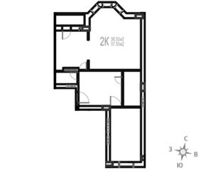 МЖК «Гармония» (Новая Купавна), планировка 2-комнатной квартиры, 57.50 м²
