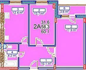 МЖК «Заречье» (Егорьевск), планировка 2-комнатной квартиры, 60.10 м²