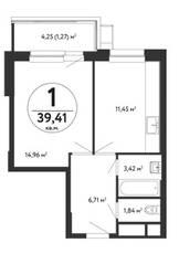 ЖК «Счастье в Кузьминках», планировка 1-комнатной квартиры, 39.41 м²