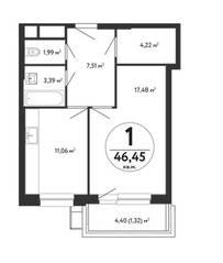 ЖК «Счастье в Кузьминках», планировка 1-комнатной квартиры, 46.45 м²