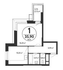 ЖК «Счастье в Кузьминках», планировка 1-комнатной квартиры, 35.90 м²
