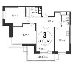ЖК «Счастье в Кузьминках», планировка 3-комнатной квартиры, 80.07 м²