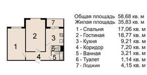 ЖК «Белорусский квартал» (Балабаново), планировка 2-комнатной квартиры, 58.68 м²