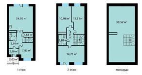 МЖК «Александрия Таун», планировка 5-комнатной квартиры, 127.00 м²