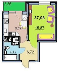 ЖК «на улице Бусалова», планировка 1-комнатной квартиры, 37.08 м²
