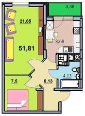 ЖК «на улице Бусалова», планировка 1-комнатной квартиры, 51.81 м²